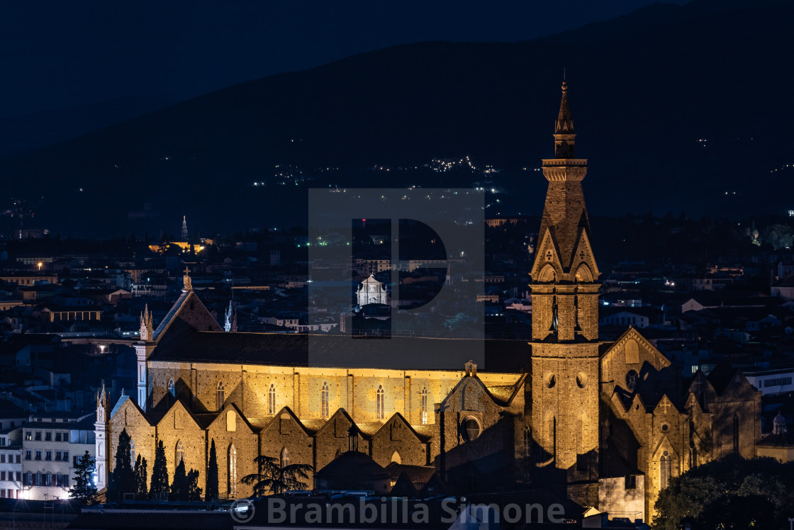 """Night view of the Basilica of the Holy Cross (Basilica di Santa"" stock image"
