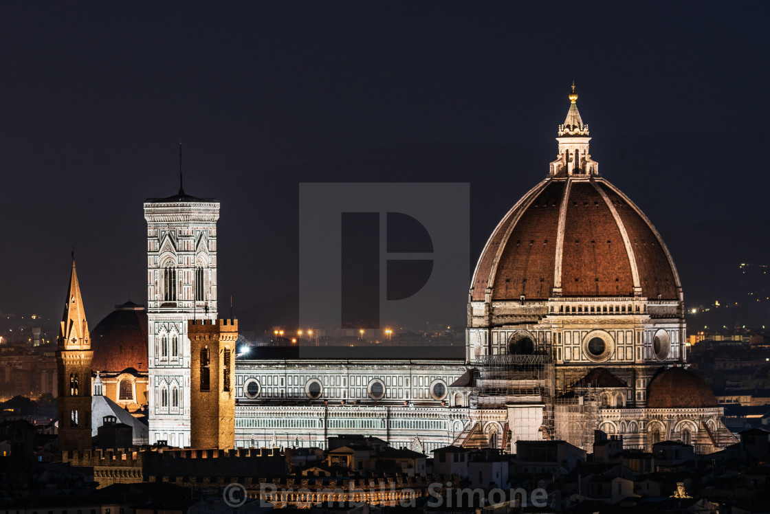 """""""Night image of the Florence Cathedral"""" stock image"""