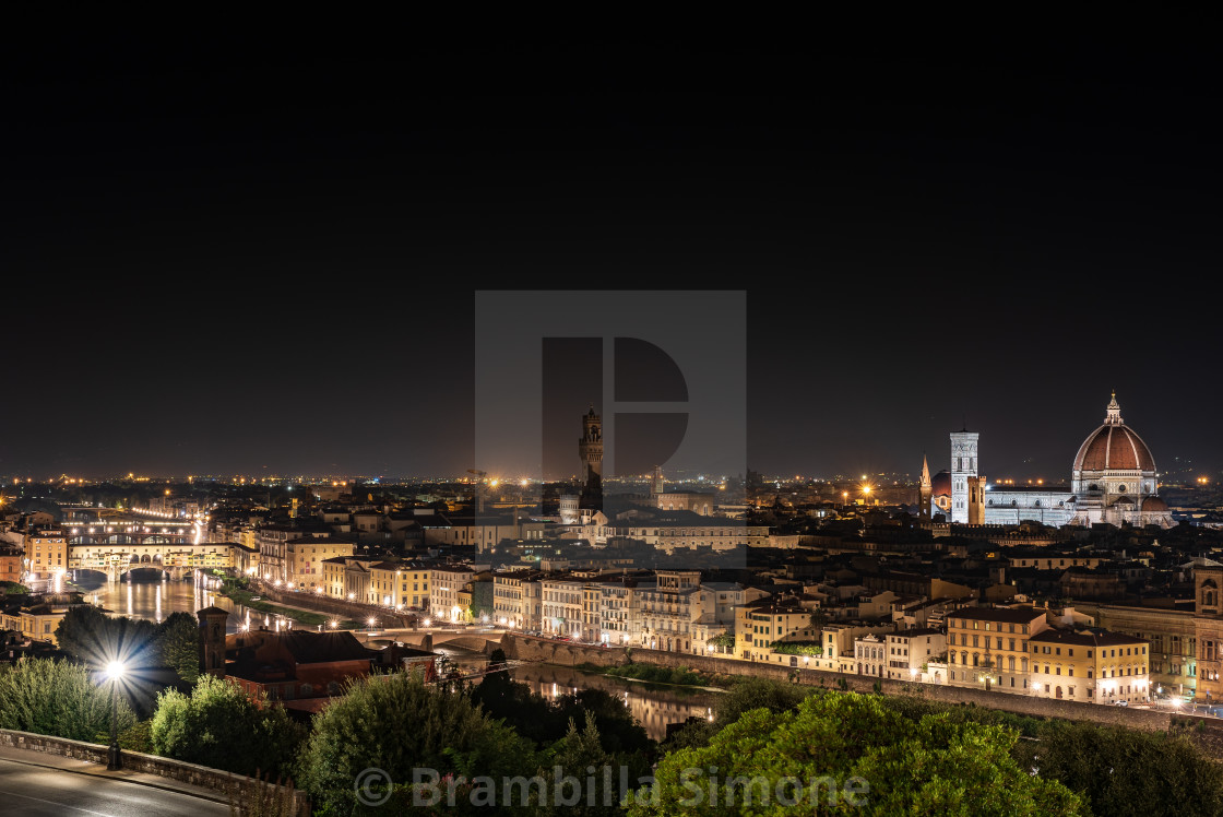 """Night view from above of the city of Florence"" stock image"
