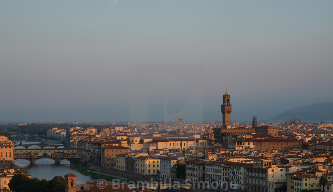 """""""View of the city of Florence early in the morning."""" stock image"""