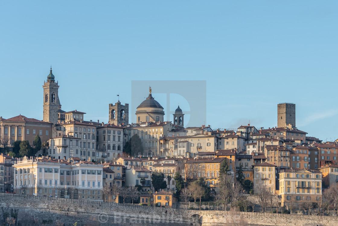 General view of some historic buildings in Bergamo Alta