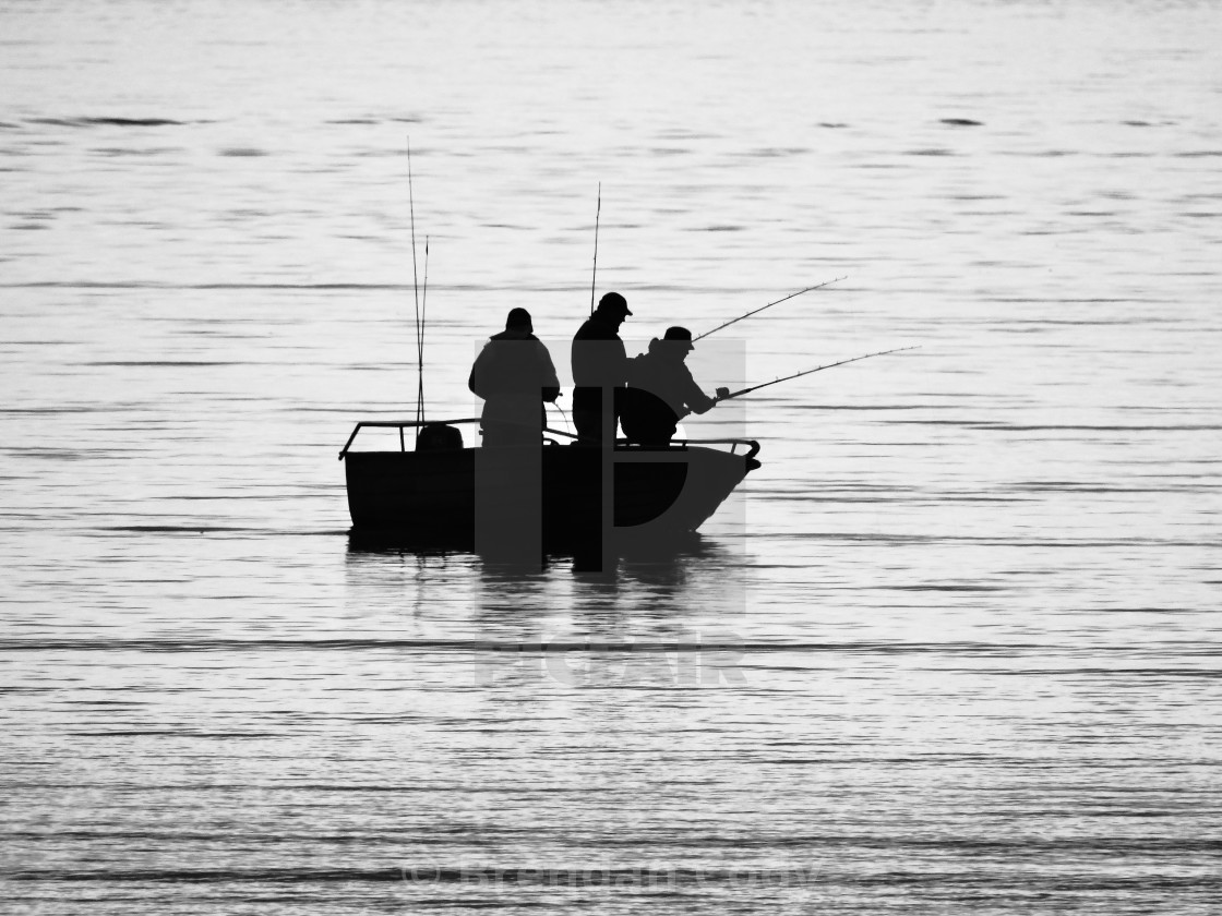 """Fishing Silhouette (Arctic Circle)"" stock image"
