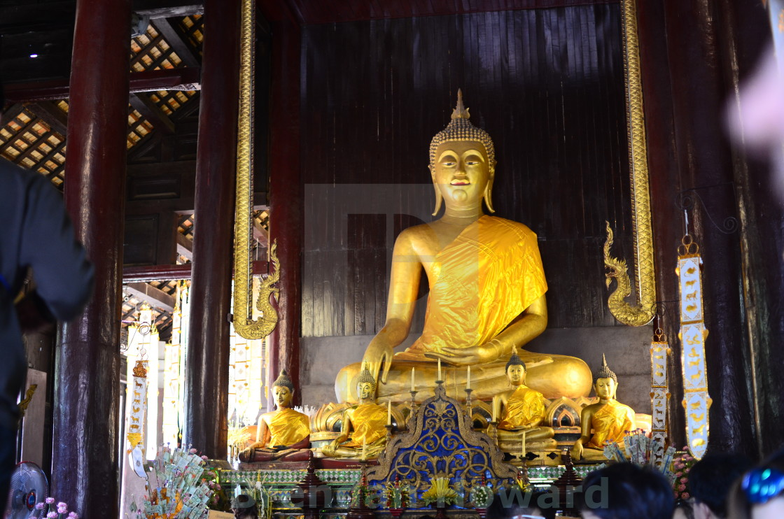 """Buddha Shrine inside Chiang Mai temple"" stock image"