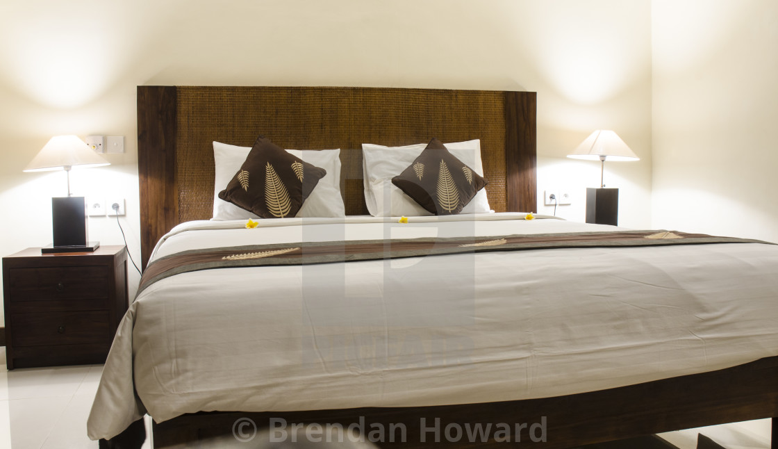 """Double bed in hotel room"" stock image"