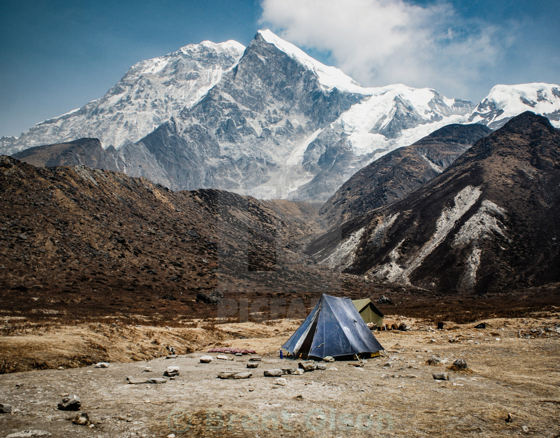 """camp below the mountains"" stock image"