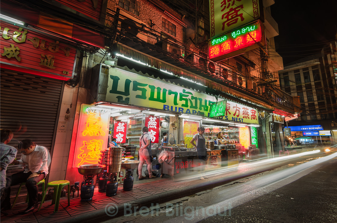 """Small restaurant in Chinatown, Bangkok - Hi Res"" stock image"