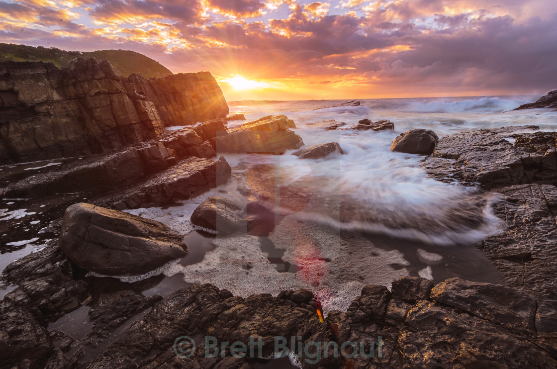 """Tidal pool Sunrise"" stock image"