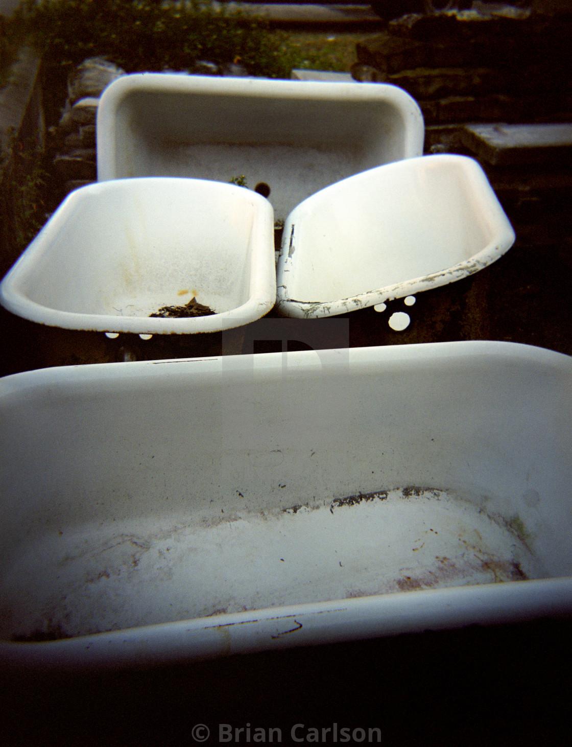 """Old bathtubs"" stock image"