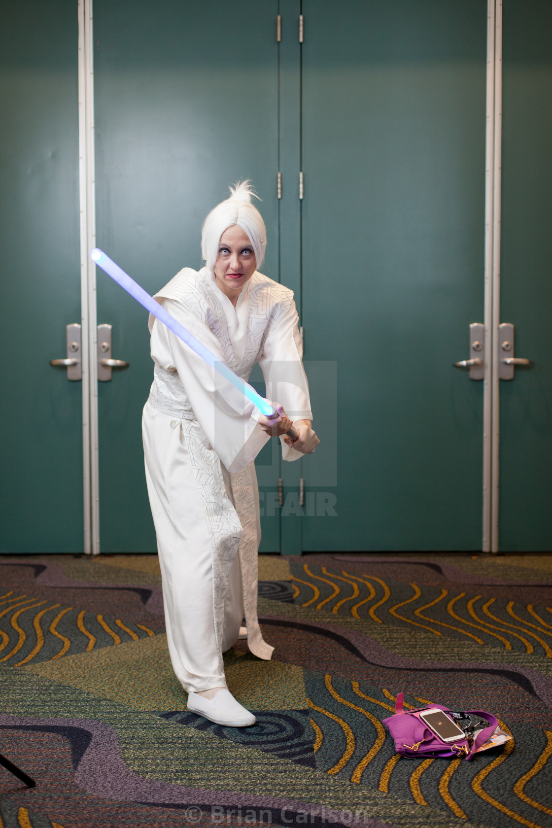 """Portrait of woman at Star Wars Celebration at Orange County Convention Center..."" stock image"