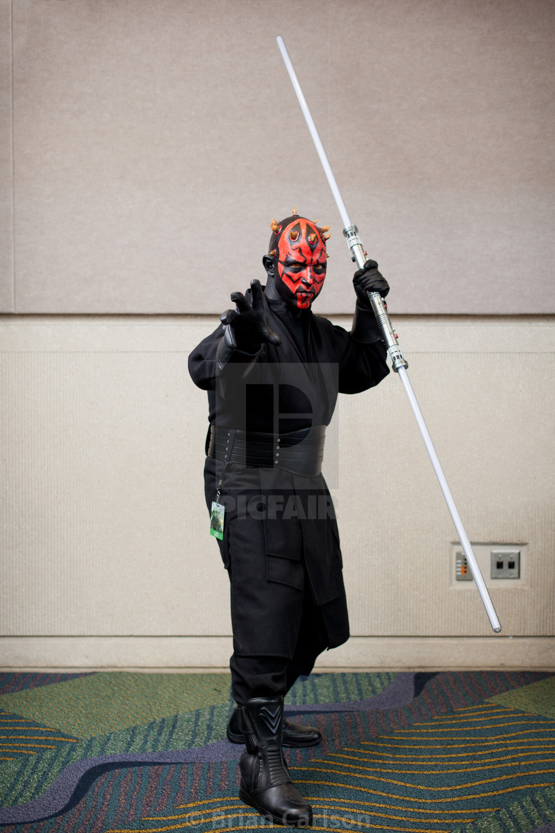 """Man dressed as Darth Maul at Star Wars Celebration at Orange County..."" stock image"