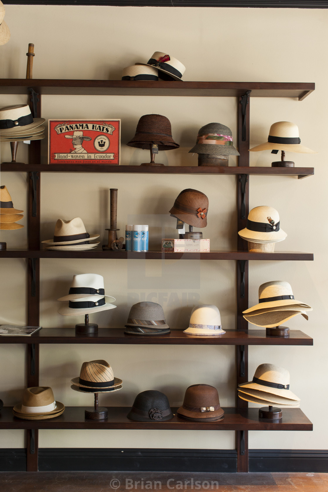 """hats on a shelf"" stock image"