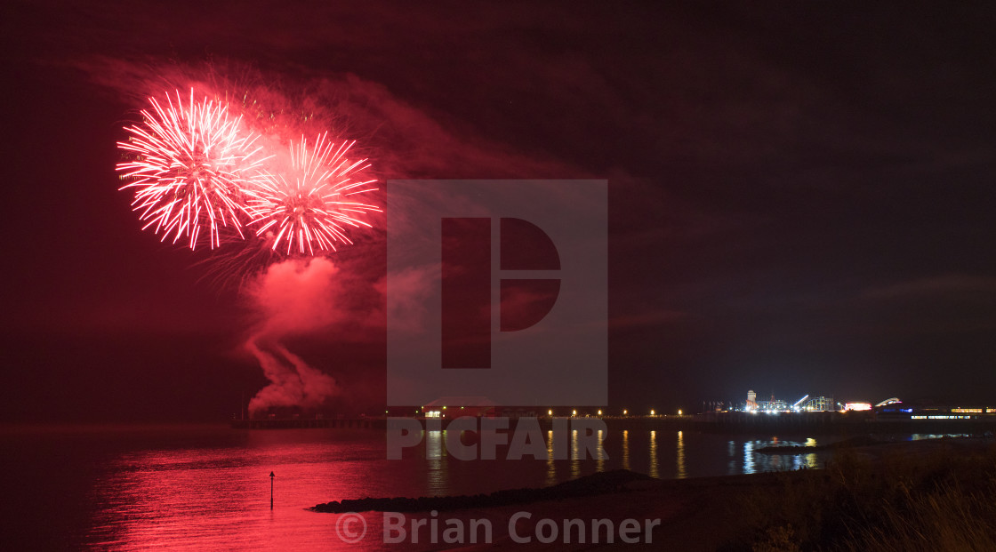 """Fireworks at the pier"" stock image"