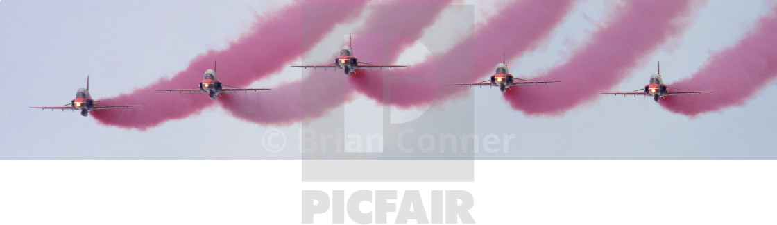"""RAF Red Arrows 'Red Smoke'"" stock image"
