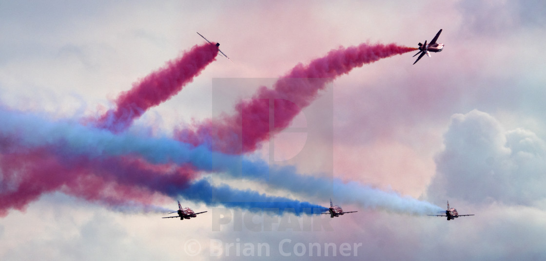 """RAF Red Arrows 'Rollbacks'"" stock image"