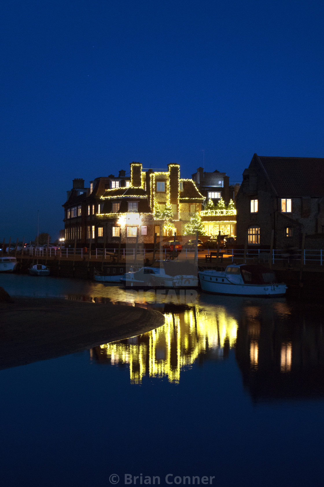 """Christmas lights on Blakeney Quay."" stock image"