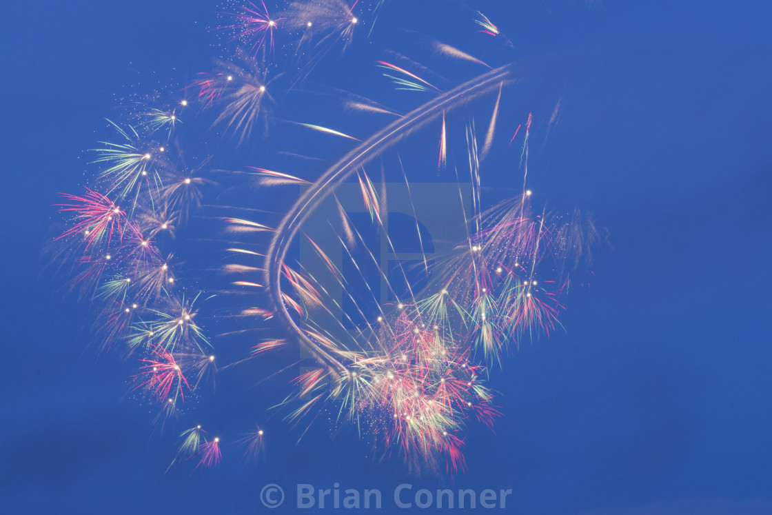 """Helicopter fireworks"" stock image"