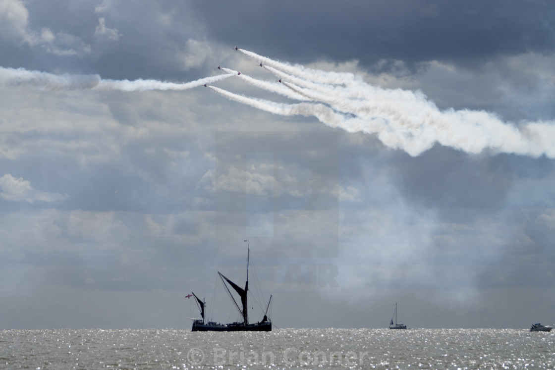 """Thames Barge and the Red Arrows"" stock image"