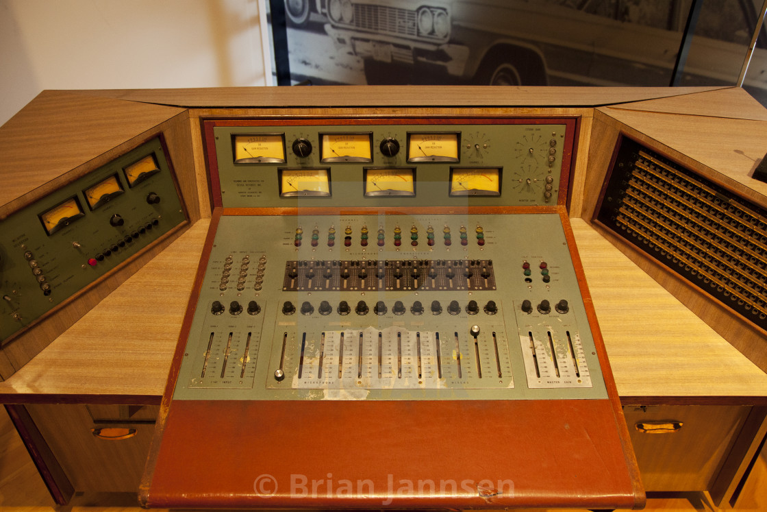 Recording console from Owen Bradley's studio on display at