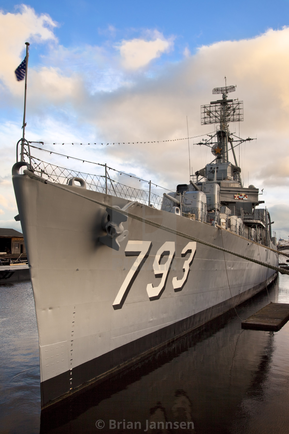 """USS Casin Young a destroyer from World War II in the Charlestown harbor,..."" stock image"