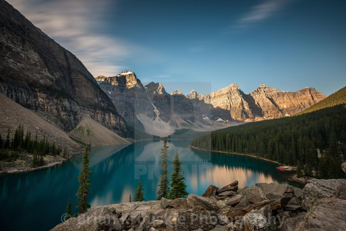"""Morning at Moraine Lake"" stock image"