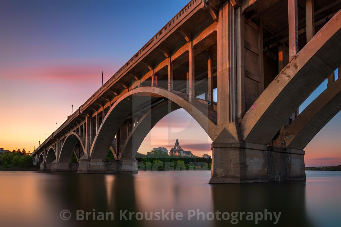 """Sunset Under the Broadway Bridge"" stock image"
