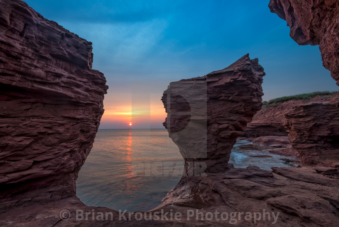 """""""Sunrise at Thunder Cove"""" stock image"""
