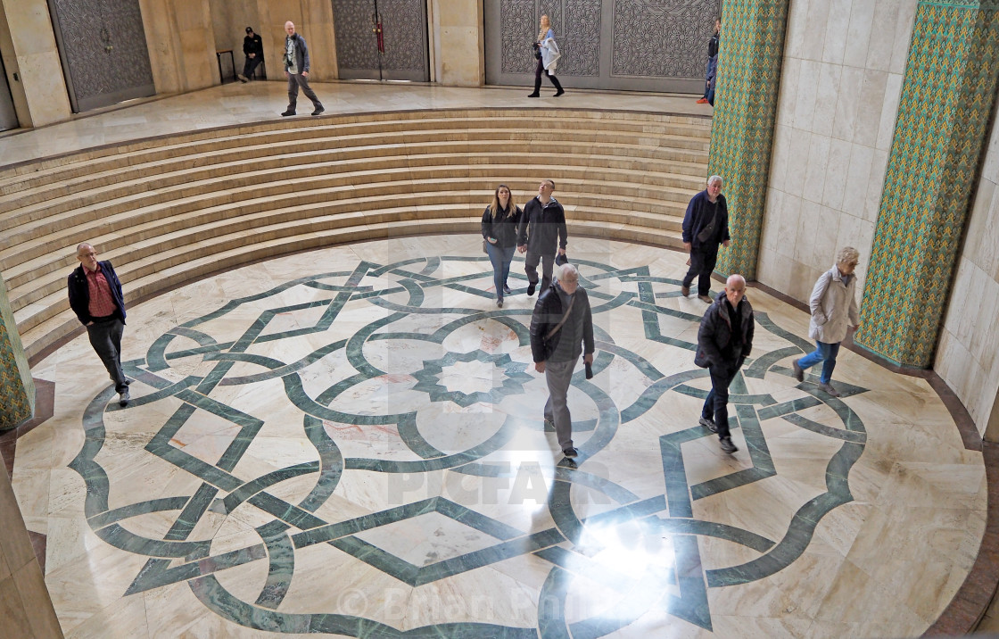 """Tourists visiting the Hassan II Mosque."" stock image"