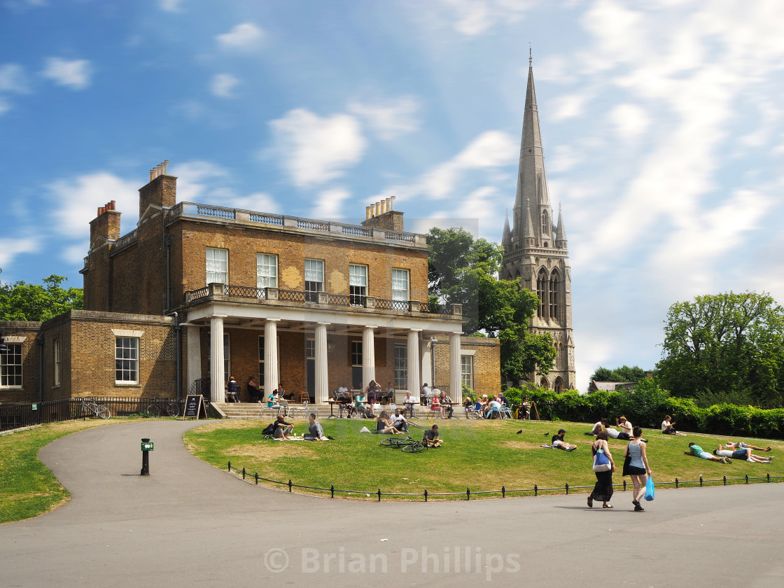 """""""Clissold House and St. Marys Church"""" stock image"""