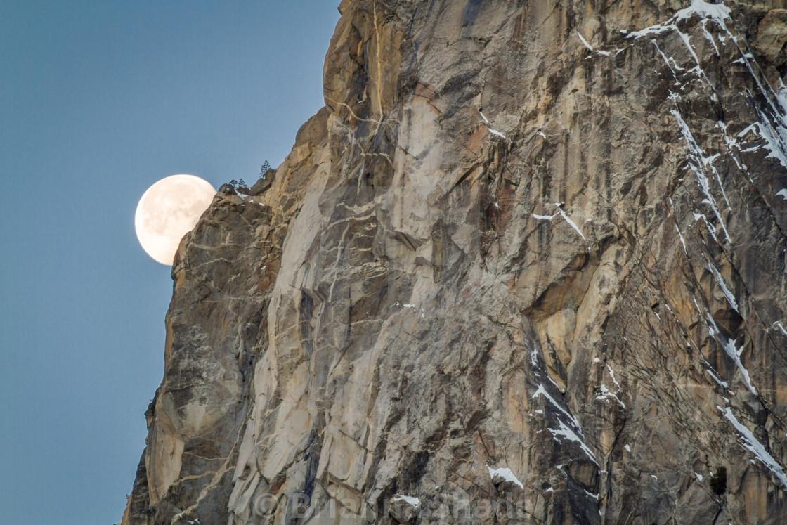 """Moon setting in Yosemite National Park"" stock image"