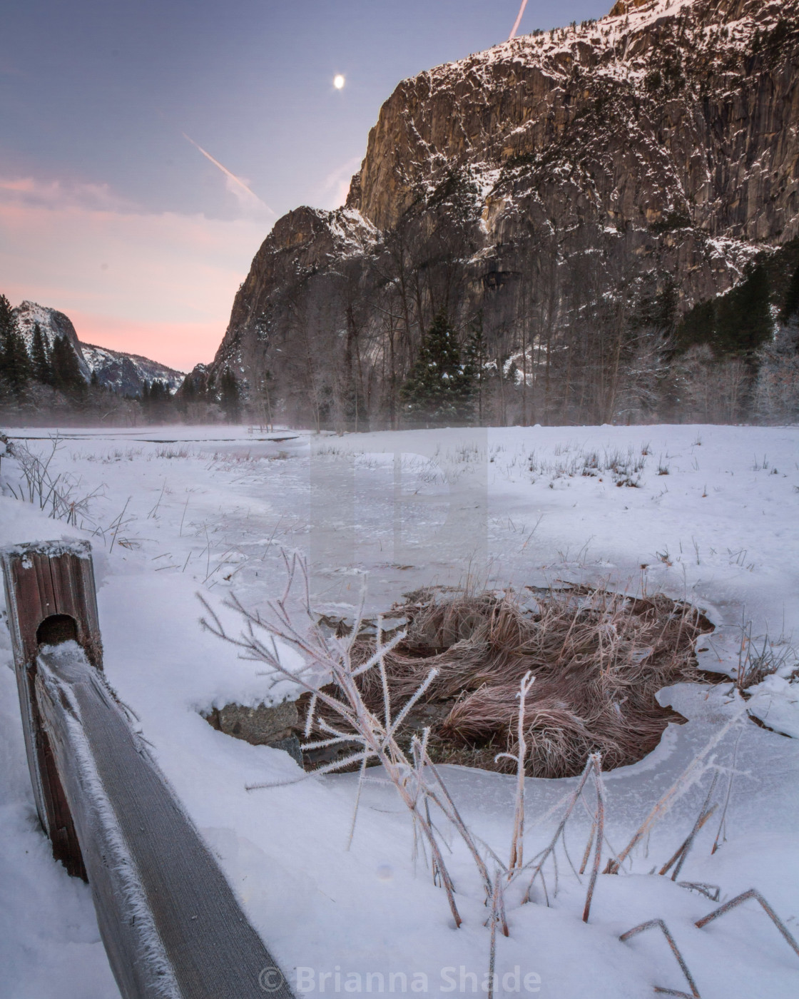 """Yosemite Valley Covered in Ice at Dusk"" stock image"