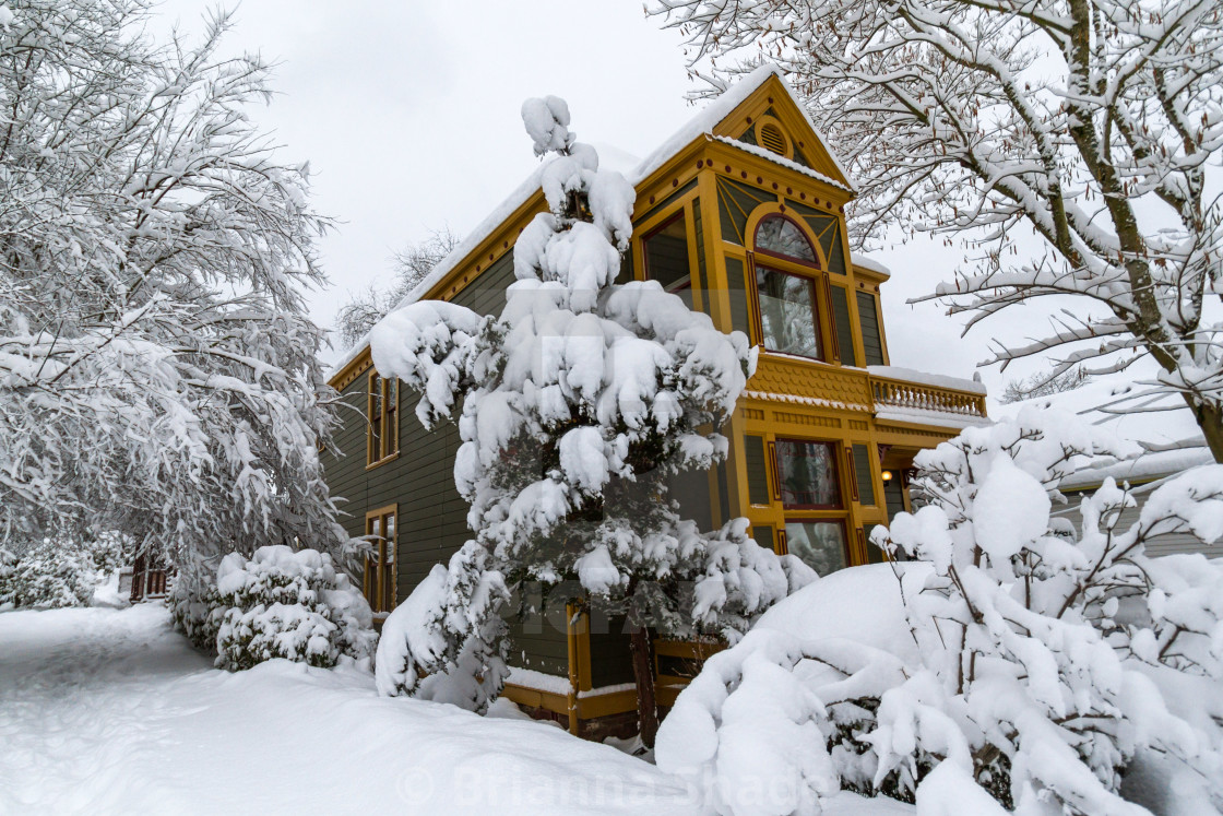 """""""House Surrounded by a Snow-blanketed landscape"""" stock image"""