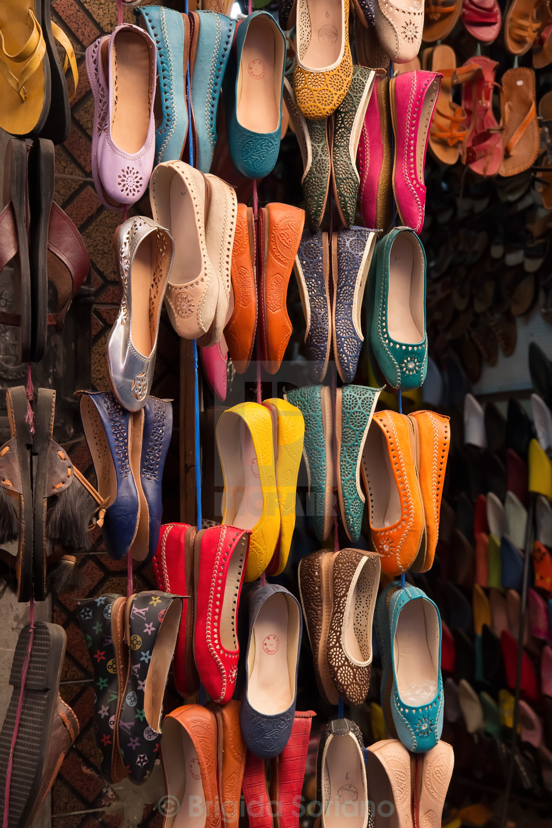 """Moroccan colourful leather shoes"" stock image"