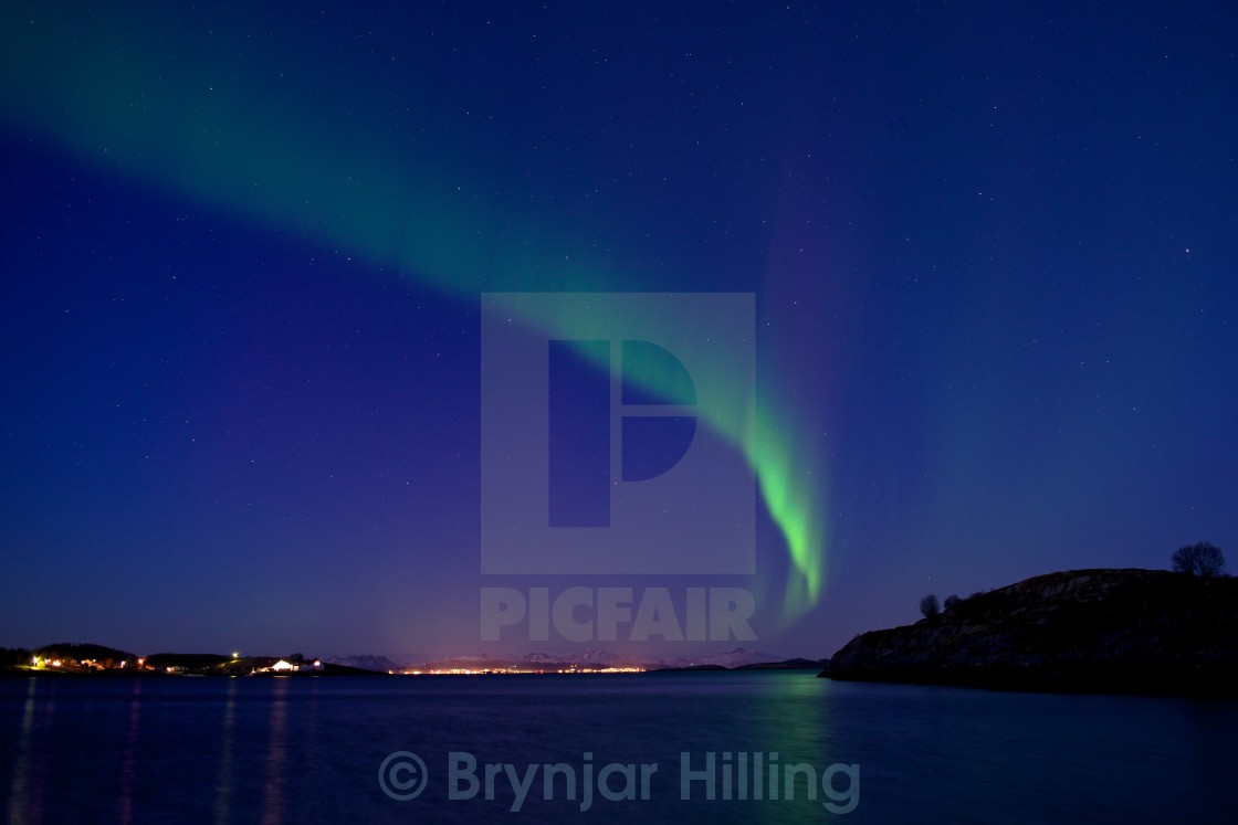 """Northern lights over Bodø"" stock image"