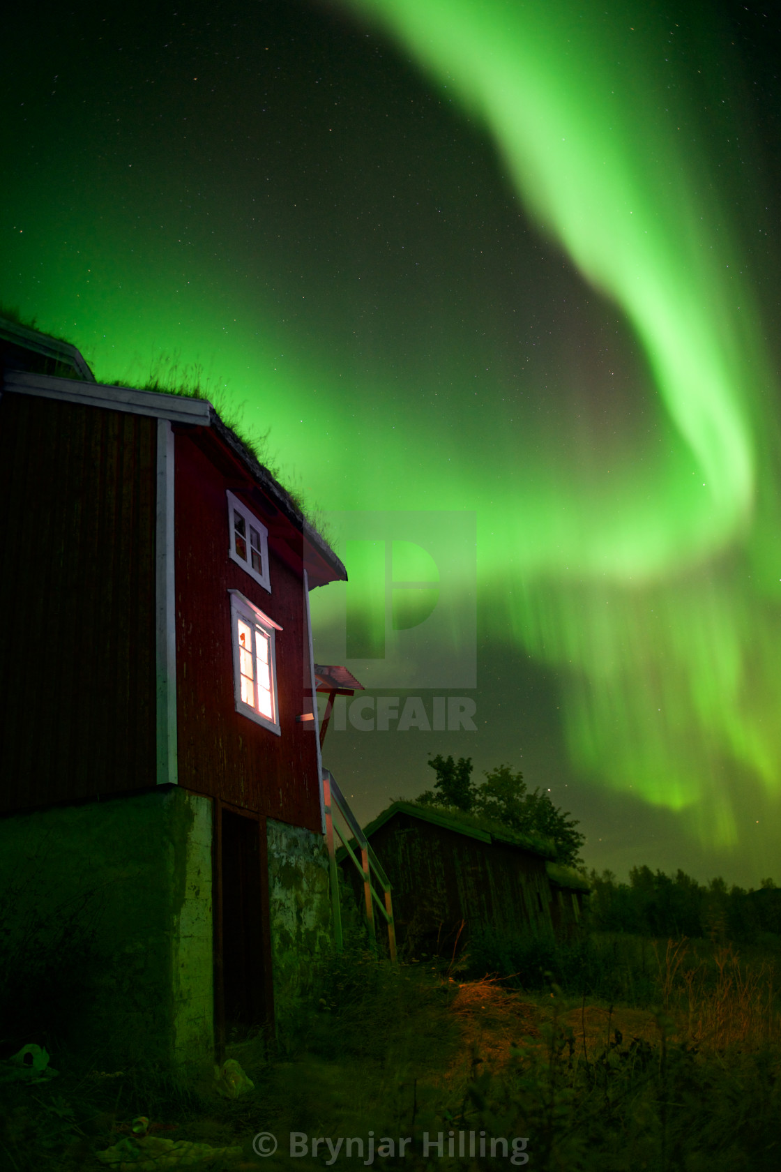 """""""Northern Lights over house"""" stock image"""