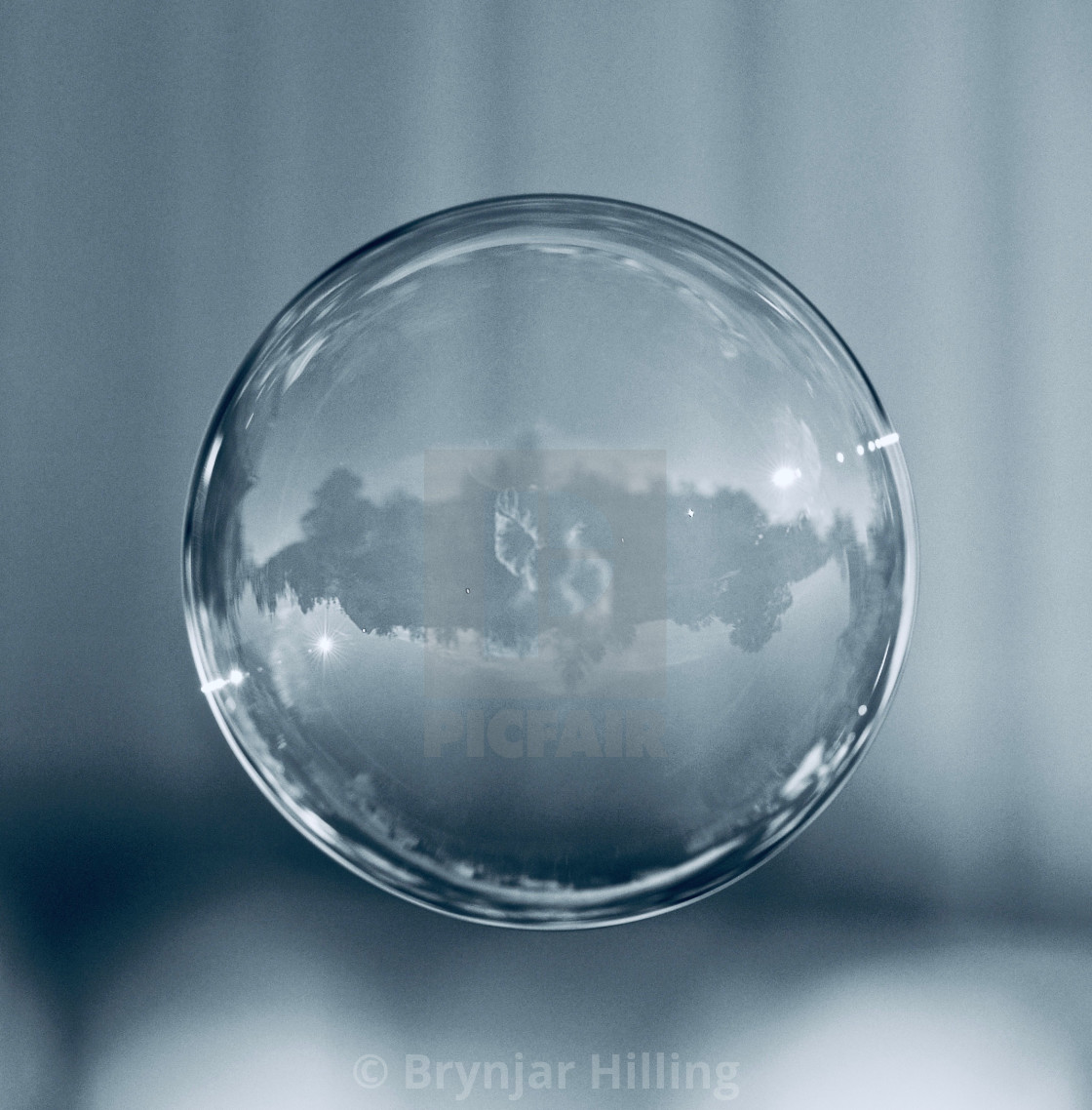 """Soap bubble in blue color tone"" stock image"