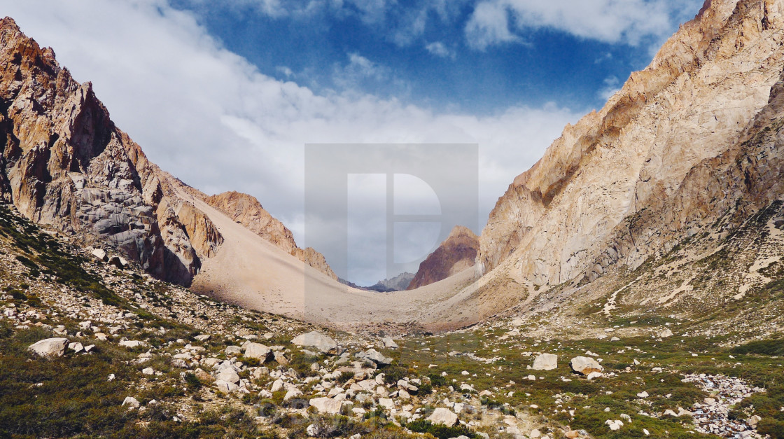 """""""Green valley in Chile and red mountains"""" stock image"""