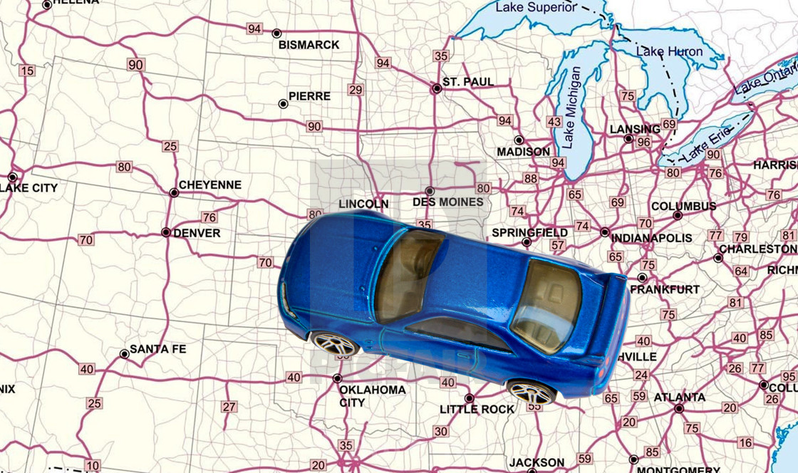 Toy car on a road map of United States - License, download or print ...