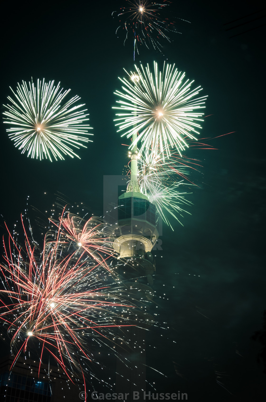 """Baghdad Tower Fireworks-6"" stock image"