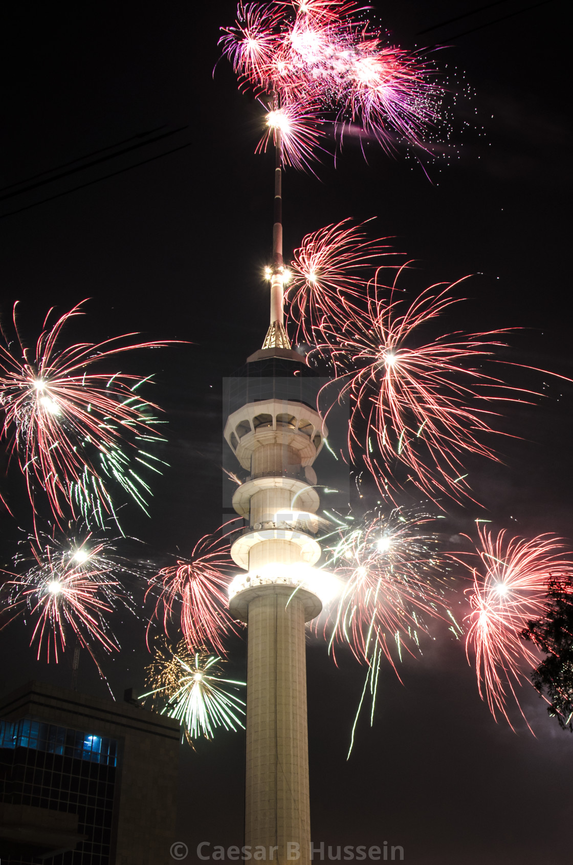 """Baghdad Tower Fireworks-5"" stock image"