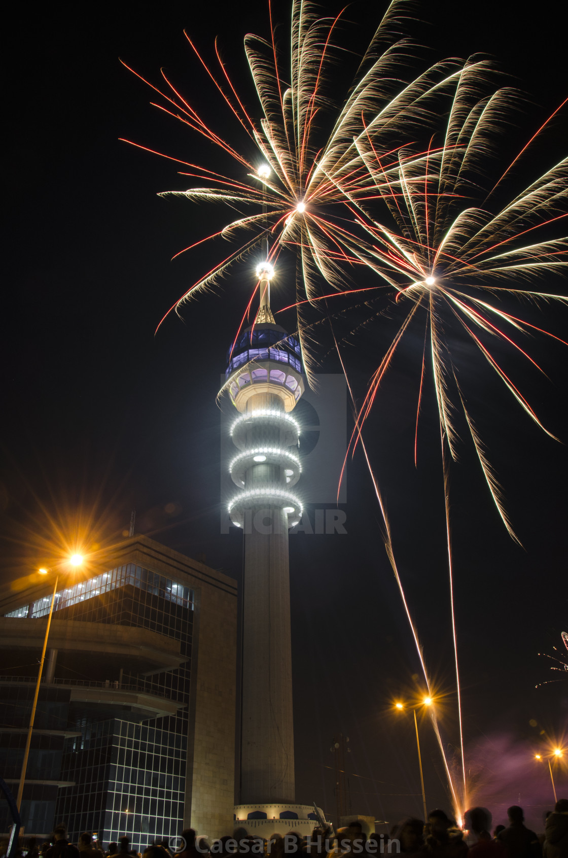 """Baghdad Tower Fireworks-1"" stock image"