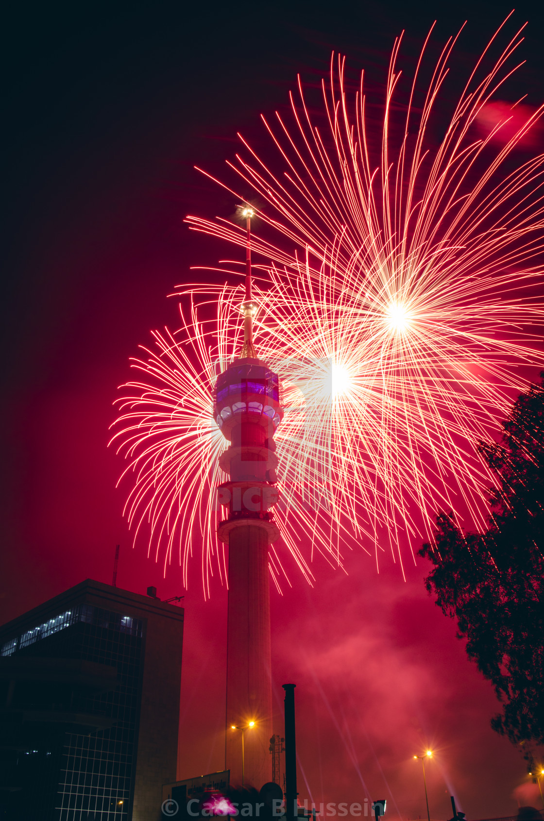 """Baghdad Tower Fireworks-8"" stock image"