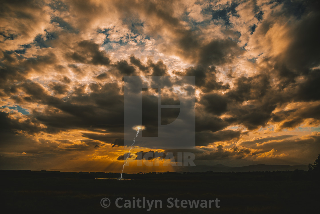"""Dramatic sky with lightning"" stock image"