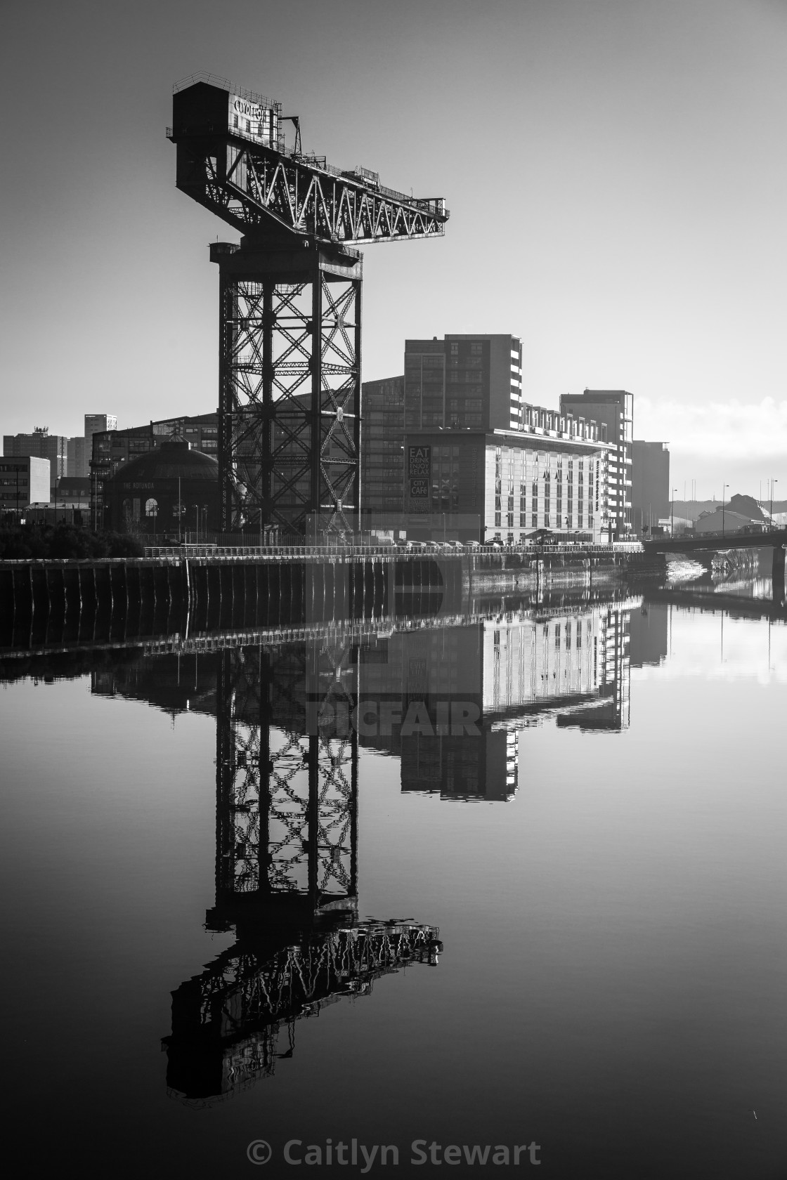 """Finnieston Crane Reflection"" stock image"