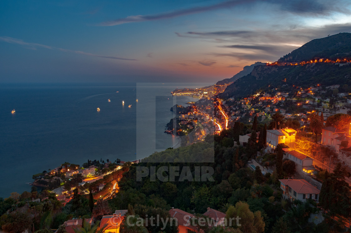 """Roquebrune at night, France"" stock image"