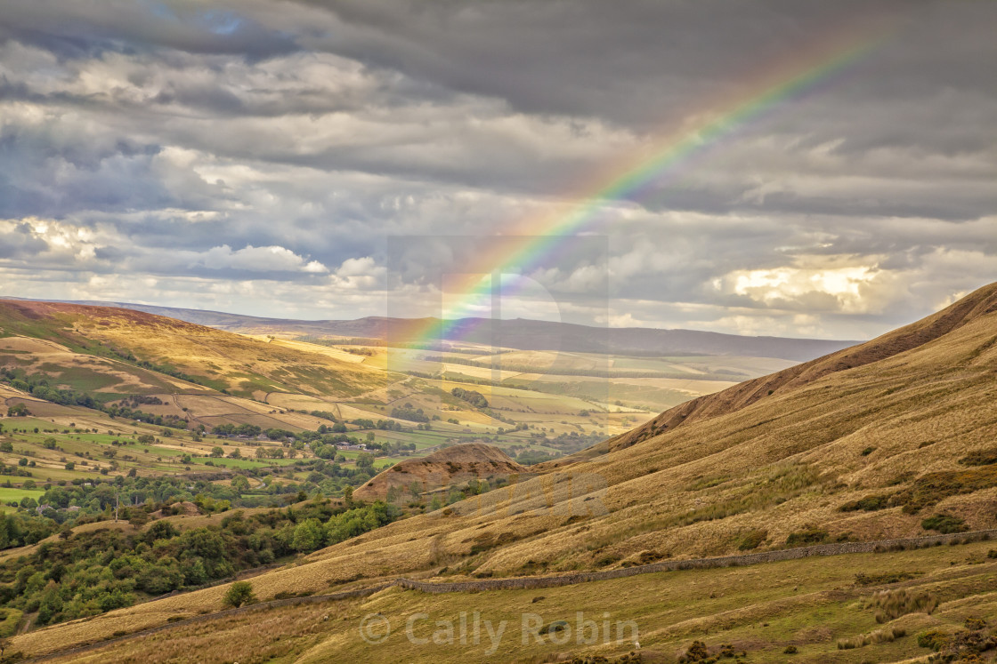 """Rainbow near Mam Tor, peak district, Derbyshire, England Summer 2018"" stock image"
