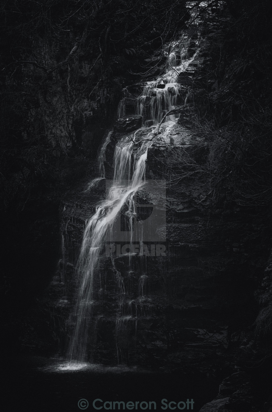 """Monochrome Waterfall"" stock image"