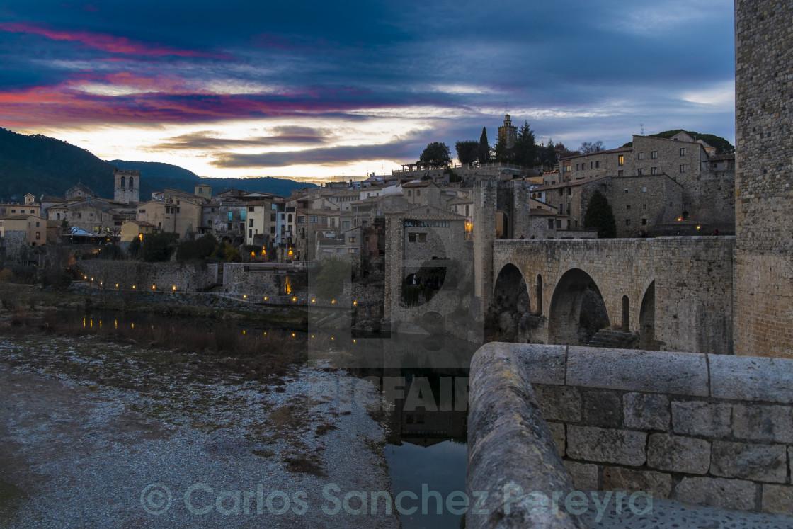 """Medieval city of Besalu in Catalonia in Spain"" stock image"