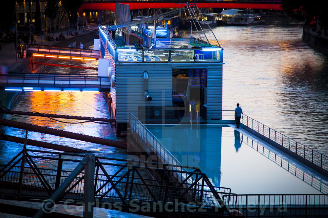 """Pool in Danube canal"" stock image"