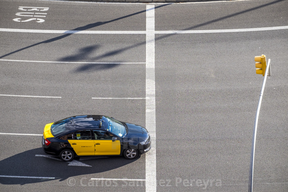 """Taxi in Barcelona"" stock image"