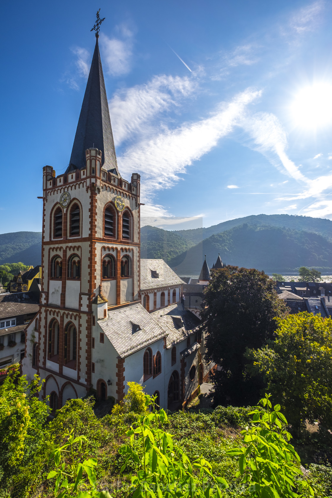 """View of Bacharach in the Rhine river"" stock image"